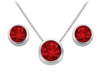 GF Bangkok Ruby Pendant and Stud Earrings Set in Sterling Silver 2.00 Carat Total Gem Weight
