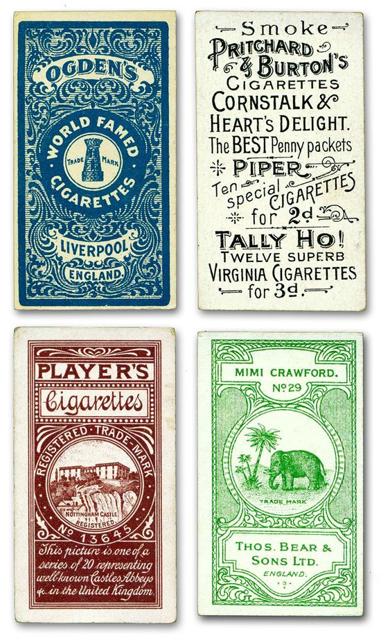 Cigarette & Tobacco Card Backs - A set on Flickr: http://www.flickr.com/photos/44841559@N03/sets/72157622841138540/ Hi-Res images perfect for craft and art projects. Very inspirational for typography layouts as well.