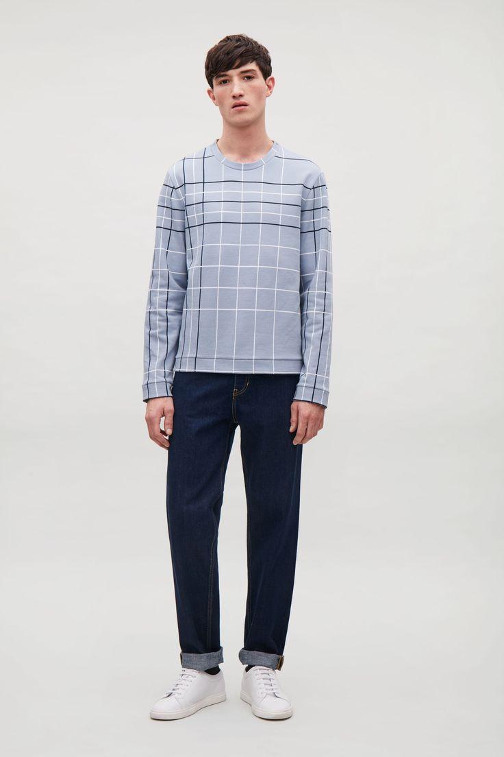 COS - Checked fleece sweatshirt in Slate Blue, taglia M // 59€