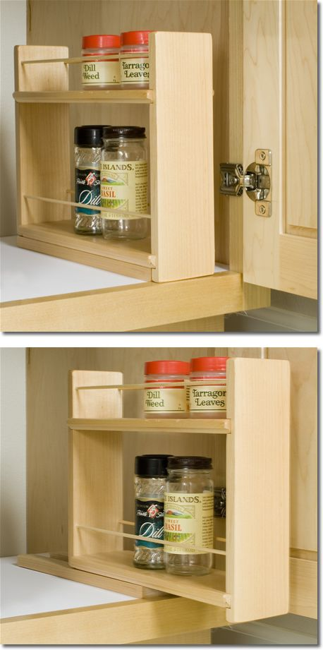 Sliding Spice Rack Can Be Placed Inside Cabinets As Shown