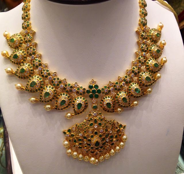 Diamond Emerald Mango Necklace