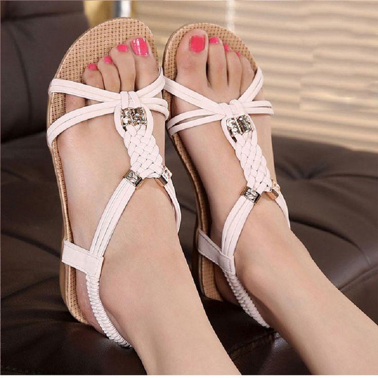 Women Shoes Women Sandals Bohemia Shoes Woman Gladiator Ladies Shoes Flip Flops Summer Flat Sandalias Mujer Beige
