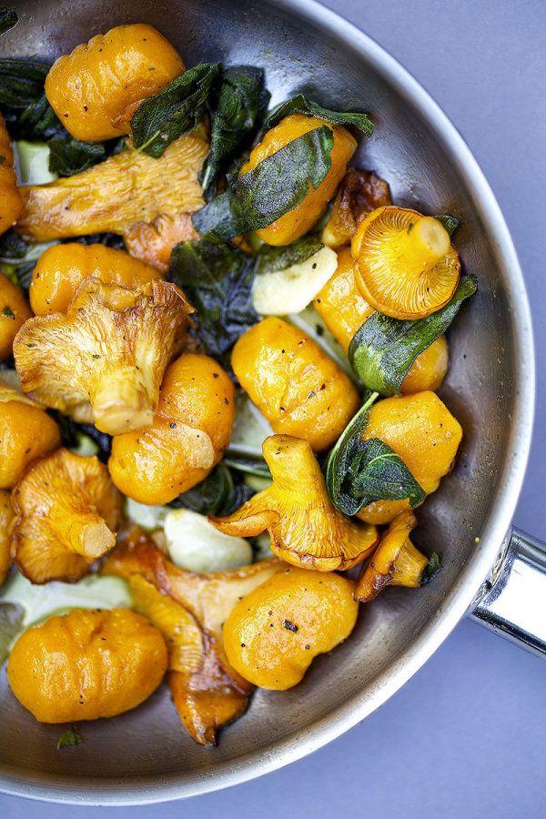 Gluten-Free Vegan Sweet Potato-Pumpkin Gnocchi with Sage, Chanterelle Mushrooms, and Chili Roasted Hazelnuts.
