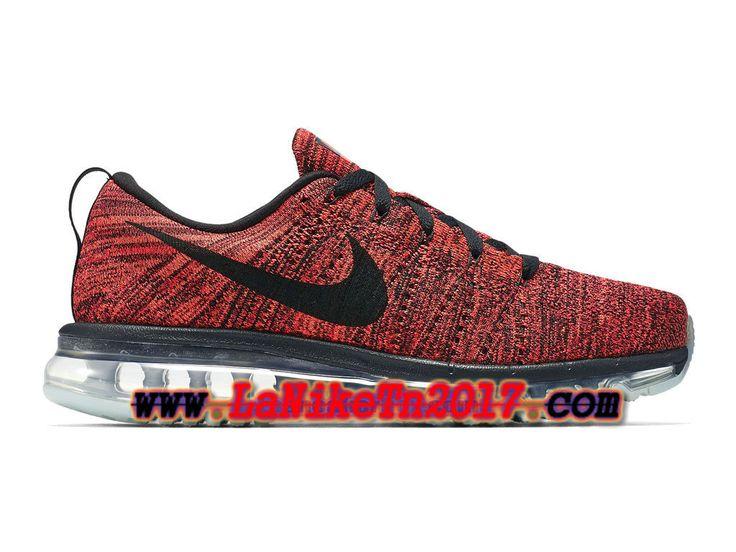 Homme Nike Flyknit Air Max Rouge Noir Chaussures de Running Pas Cher 620469-006
