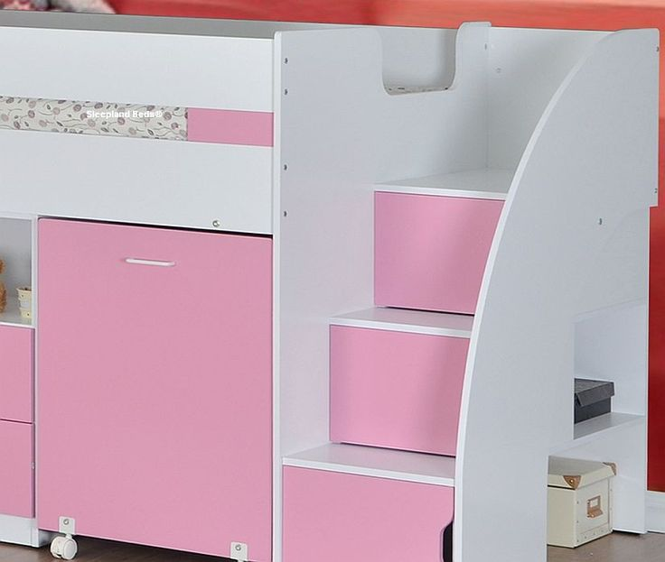 Pink Mid Sleeper Cabin Bed With Storage Steps