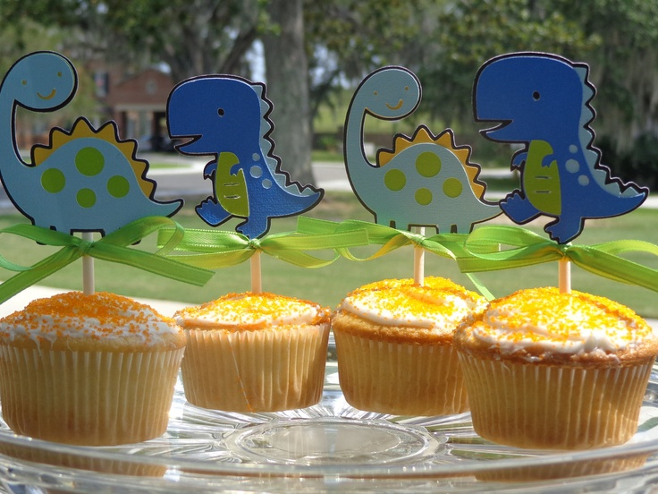 Dinosaur Birthday Cupcake Toppers. via Etsy.