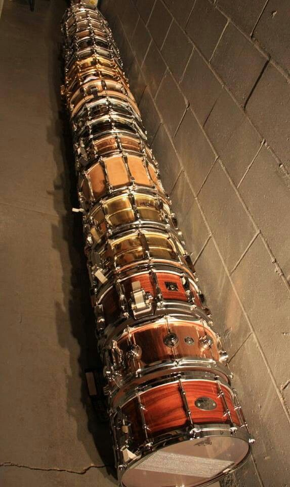 """THIS is a Drum line! Row of lovely variety of shells for snare drums. RESEARCH #DdO:) - https://www.pinterest.com/DianaDeeOsborne/drums-drumming-joy/ - DRUMS & DRUMMING JOY. Most common snare size is 14""""x 5"""" or 5.5"""" > an easy drum to tune & play in every way. With a tight tuning, drum has great feel & a punchy sound. With a medium tension you can take care of half of all songs in the world. Loose is great for #ballads. Photo pinned via goyanks28's LITTLE DRUMMER BOYS cute named #Pinterest…"""