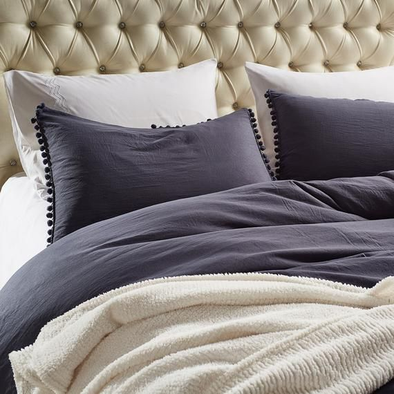 Natural Dark Gray Duvet Cover Washed Comforter Cover Comfortable