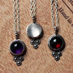 Silver daisy necklace - flower trio in recycled sterling silver-Moonstone necklace - silver daisy necklace - June birthstone - garnet caboch...