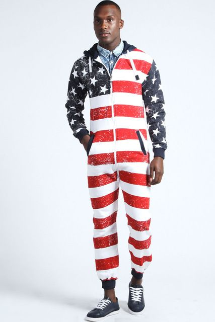 Source All over American flag men's onesie pajamas with hood on m.alibaba.com
