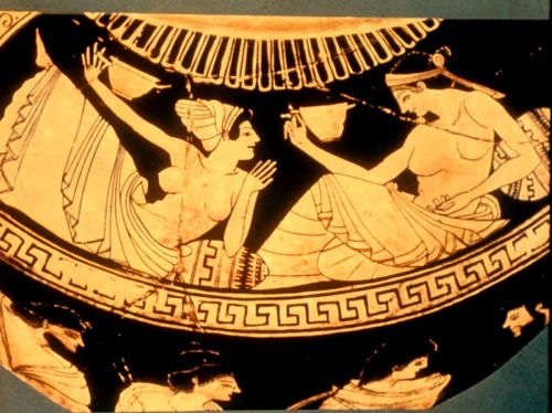 Red-Figure Vase Painting:  Women Reclining/ Drinking at a Banquet