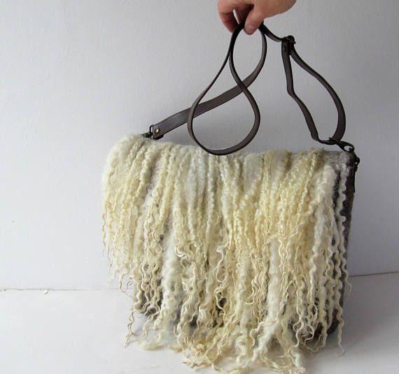 Felted  handbag  purse Eco fur purse crossbody handbag Grey