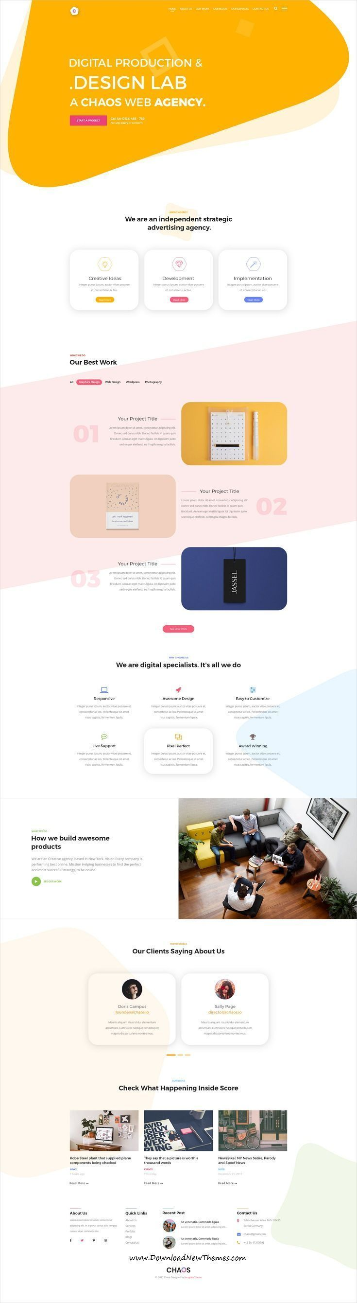 Chaos is clean and modern design #PSDtemplates for onepage #creative agency landing page website with 4 #homepage layouts and 13 layered PSD pages to live preview & download click on Visit