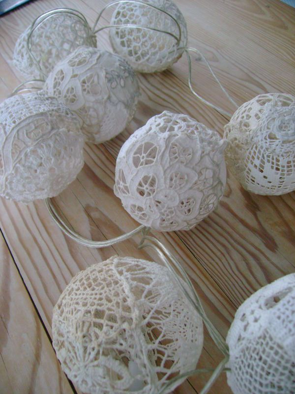 starch lace over form string of lights