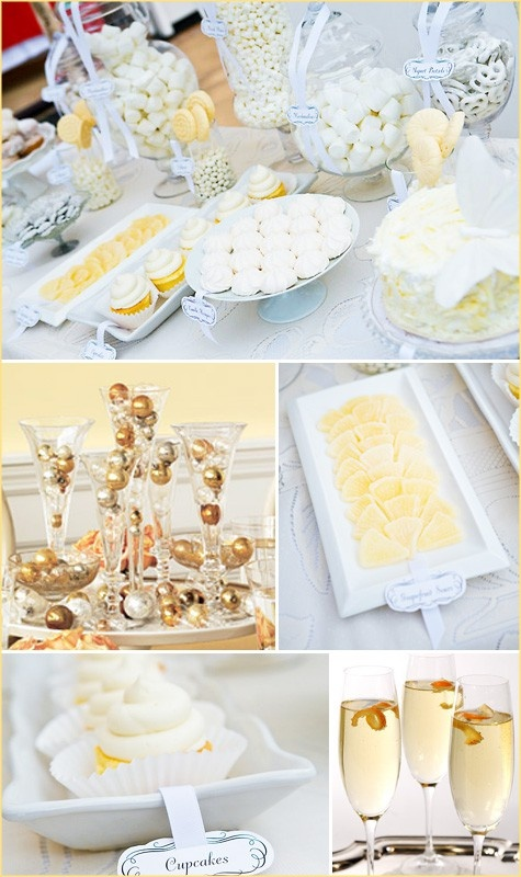 New Years Accent with assorted gold ornament balls. Tablescape Centerpiece www.tablescapesbydesign.com https://www.facebook.com/pages/Tablescapes-By-Design/129811416695