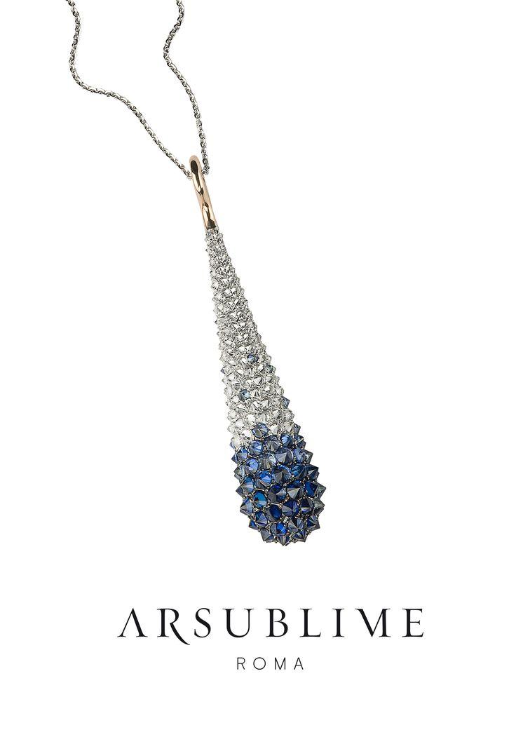 #pendant #diamonds #sapphires #arsublime #rome #finejewellery #upsidedown #inverno #mood #luxury #pendente #italianluxury #style #fashion