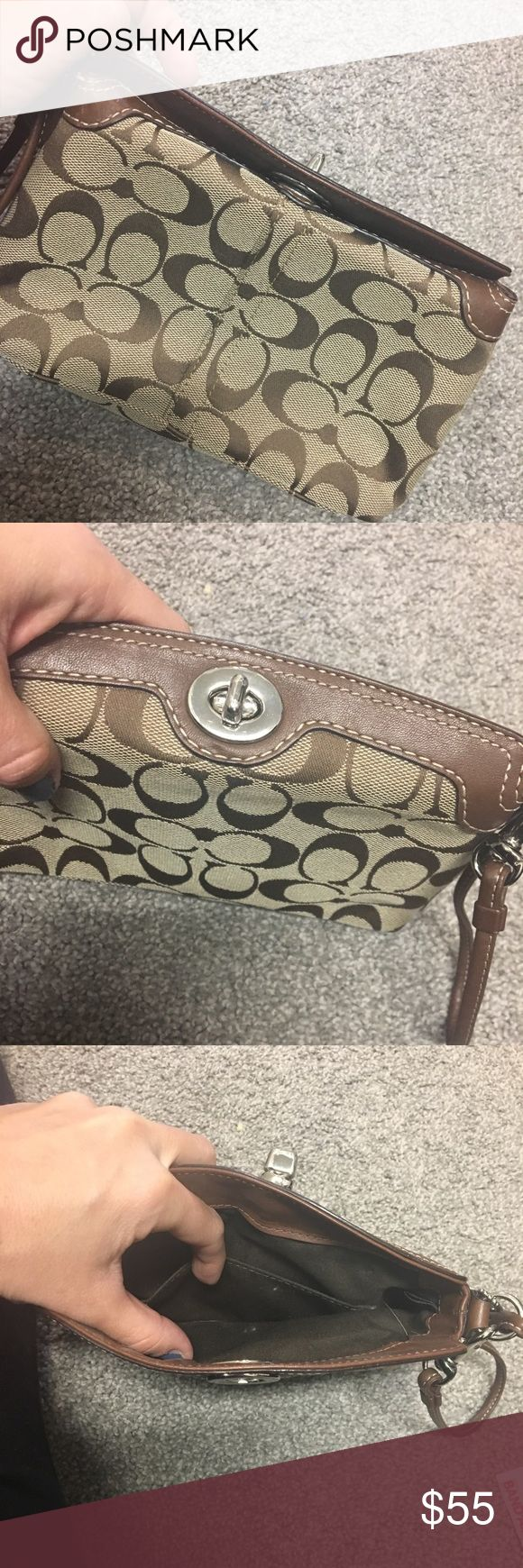Coach Wristlet, great condition! Super cute and great everyday size Coach wristlet. Signature C in brown and tan. I think I maybe used this 5 times. Great deal! Coach Bags Clutches & Wristlets