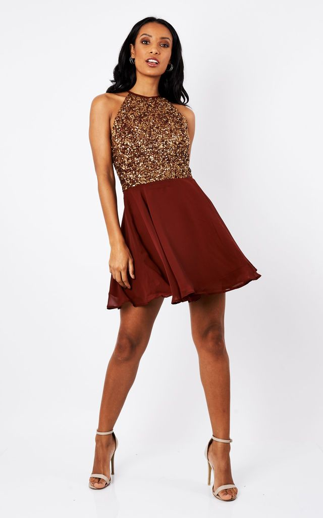 21ecc058ddb Sheen Lilli Gold Sequin Skater Dress In Burgundy By Sheen Clothing ...