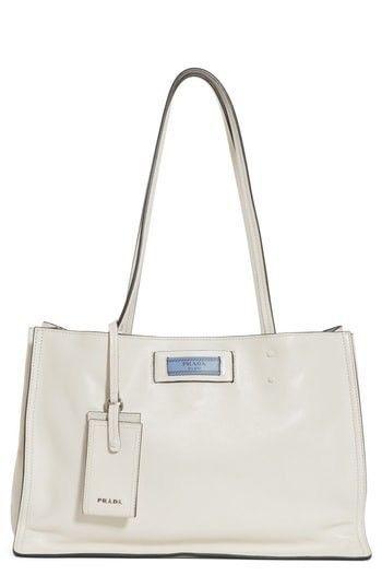 006e879cf301 NWT PRADA Small Etiquette Glace Calfskin Shopper Bianca Astrale ...