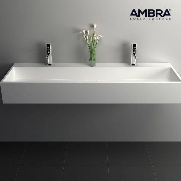 Ambra - Vasque 120 cm en Solid surface à poser ou à suspendre