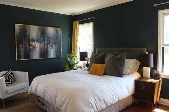 CozyWall Colors, House Tours, Grey Bedrooms, Balance Style, Style Blends, Apartments Therapy, Blue Bedrooms, Master Bedrooms, Dark Wall