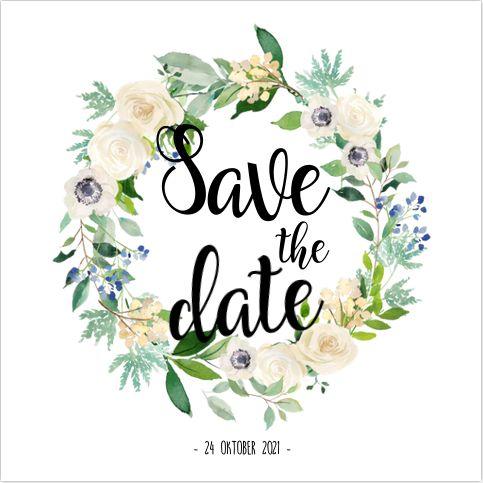 Romantische enkele save the date kaart met botanische krans met bladgroen en witte/licht roze rozen en sierlijke typografie! Zelf maken! Gratis verzending in Nederland en België. Enveloppen zijn los bij te bestellen.