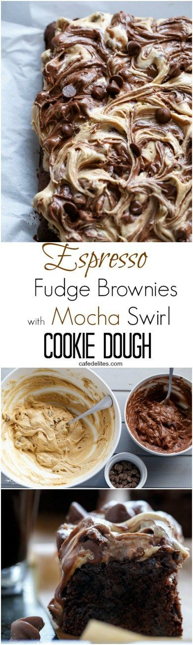 The Fudgiest Espresso Chocolate Brownies Topped with TWO COOKIE DOUGH FLAVOURS! Mocha AND Chocolate Chip Cookie Dough on http://cafedelites.com