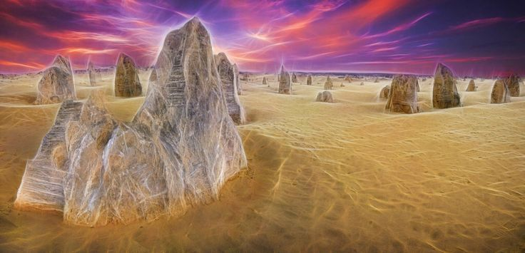 Artistic rendition of the Pinnacles , Western Australia