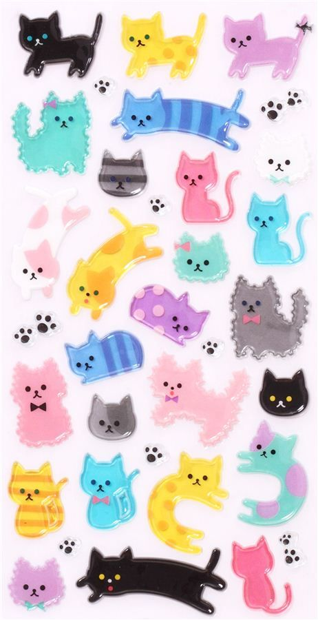 pegatinas de plástico duro 3D con graciosos gatos de colores, huellas de gato, etc.