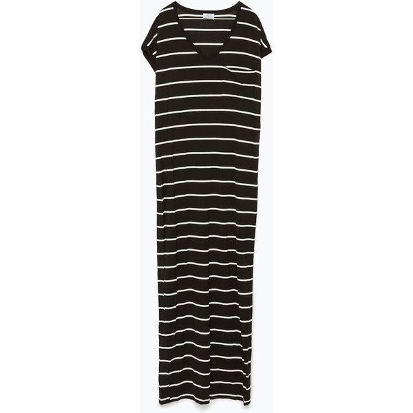 Zara Long Striped Dress (415 EGP) ❤ liked on Polyvore featuring dresses, stripe long dress, long day dresses, striped dress, zara dresses and long striped dress