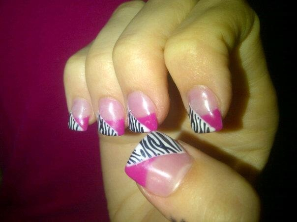 gel nails , zebra printtt! by Shaunna Nickerson-LeBlanc