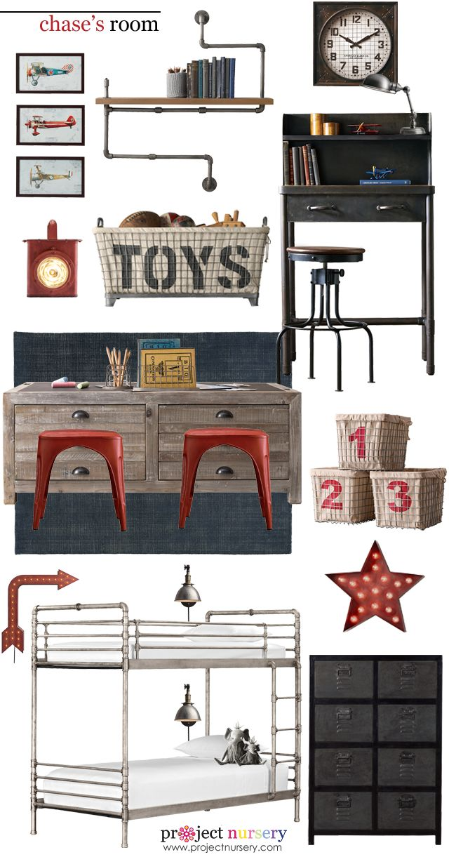 Big Boy Room Design Board from #rhbabyandchild - love the red pops of color!