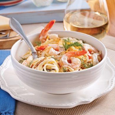 Linguines aux crevettes, sauce Grand Marnier - - Recettes 5-15 - Express - St-Valentin - Pratico Pratiques