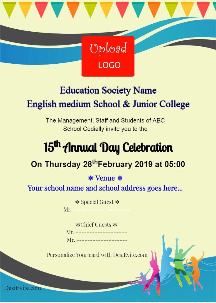school annual day invitation card maker  school