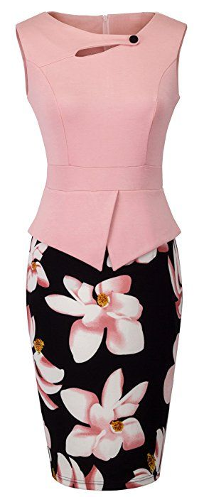 Homeyee Women's Elegant Chic Bodycon Formal Dress B288 (L, Light Pink)