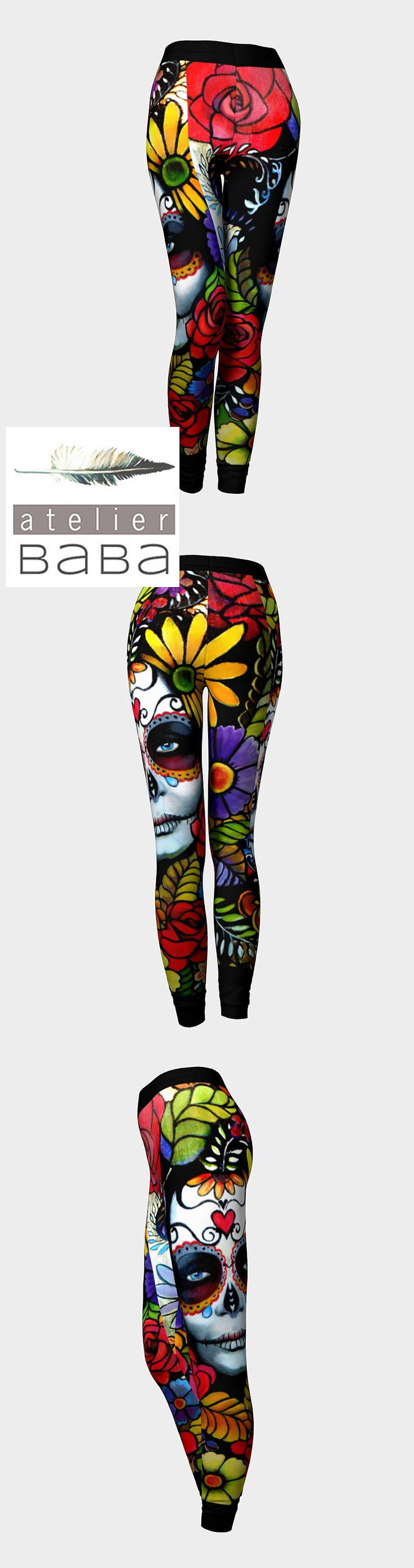 """""""Day of the Dead 2.0"""" Quality Leggings by atelierbaba on Art of Where. Made in Canada. Sweet."""