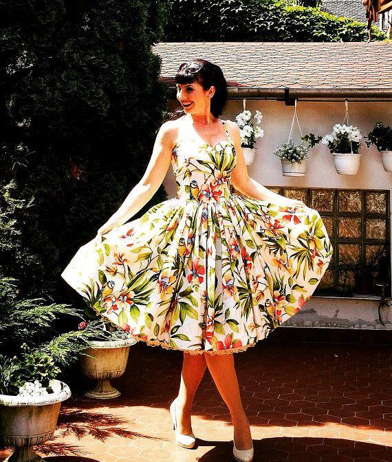 Vestido Pinup 'Bosque Tropical' tiki vestido, rockabilly