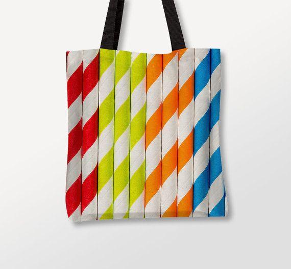 Colorful Tote Bag, Straws Photo, Fun Bag, Beach Totes, Apparel
