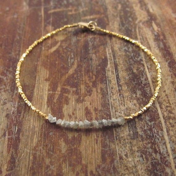 Diamonds in the Rough Bracelet 24K Yellow Gold by TwoFeathersNY