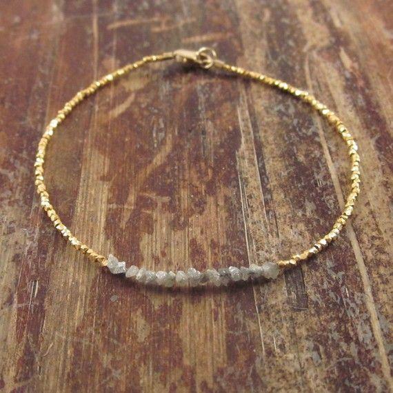 Rohdiamant Armband Rohdiamanten Armband Perlen von TwoFeathersNY