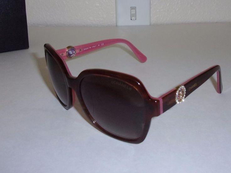 Chanel Pink & Brown Sunglasses with Rhinestone Circle Logo 6619 c.5 56 / 16 138 #CHANEL