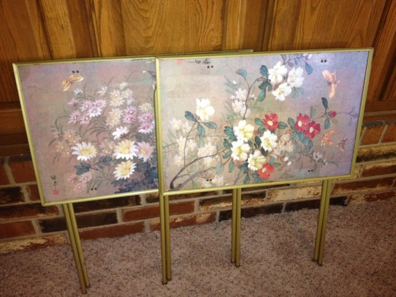 Vintage TV Television Trays Floral Asian   Free by FireFly5Girl, $45.00