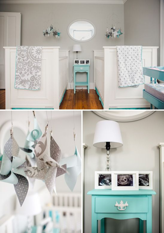 Gray and Aqua Twins Nursery (Paint Color: Gray Owl by Benjamin Moore)
