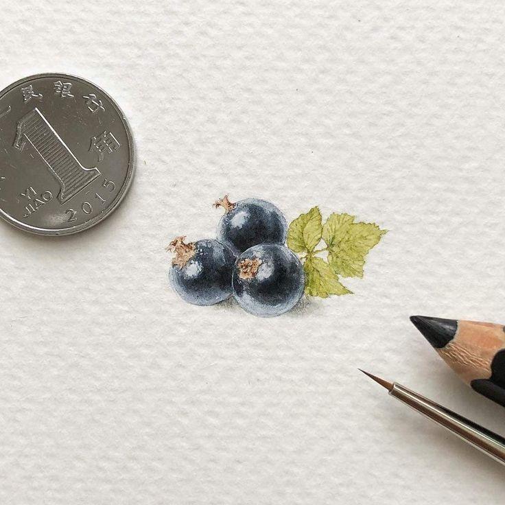 Day 111/120 (28/30 #tiny_yummydays series). Blackberry/black currant 🔍 Size 24 x 14 mm. - #blackberry #blackcurrant #berries