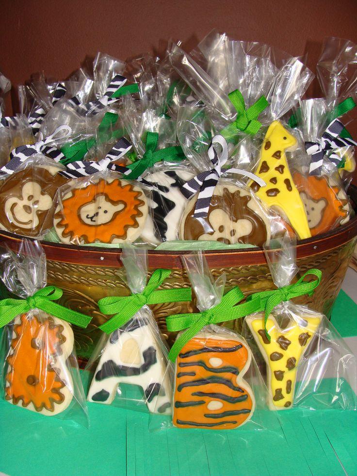 jungle baby shower cookies favor