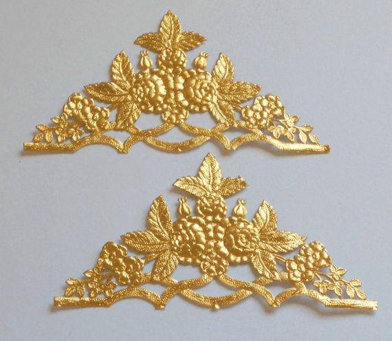 2 Rose Corners Gold Dresden die cut foils Victorian Scrap Art Mixed Media Cards Embellishment