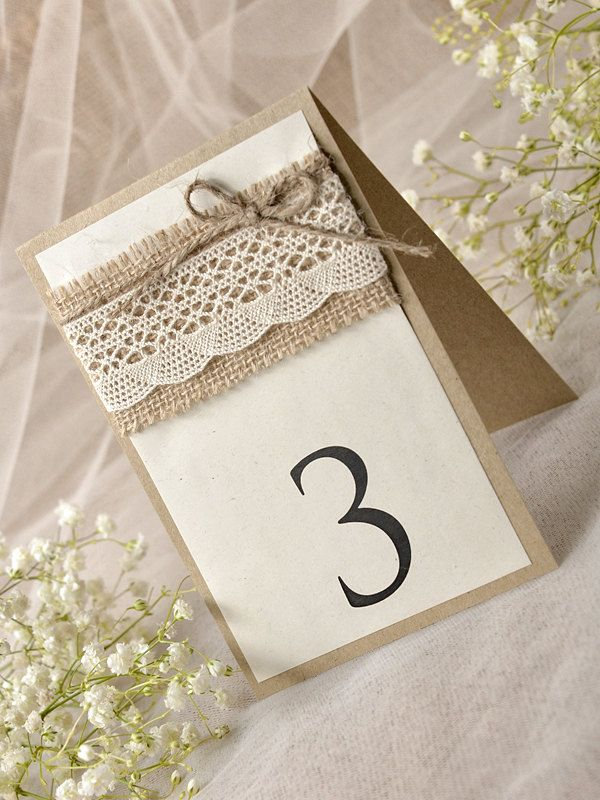 Lace Rustic Wedding Table Number 5 Rustic by forlovepolkadots