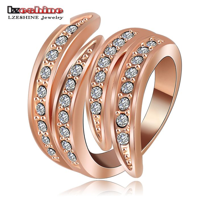 LZESHINE Newest Angel's Wing Engagement Rings Rose Gold Plating and Pave Czech Crystals Fashion Jewelry anillos  Ri-HQ0063