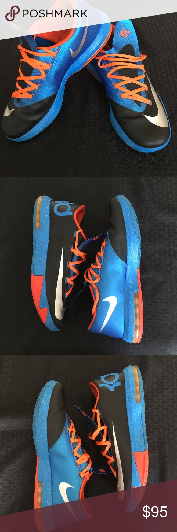 🏀 Nike KD VI Sneakers 🏀 Great pair of kicks to wear for fashion or play basketball in. Great condition, back sole scuffed(see pic), slight creasing and slight wear on bottom of sole (see pic). The shoes laces were changed and are slightly longer then originals. No Box!Reasonable offers accepted, thanks for looking☺️ Nike Shoes Sneakers