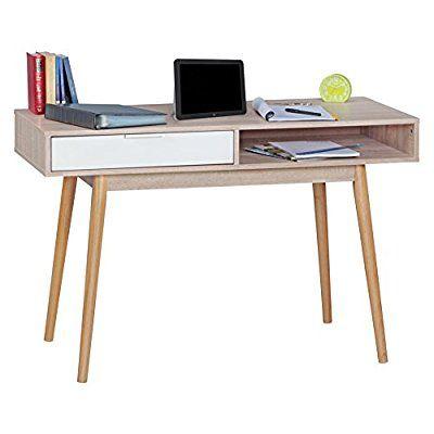 WOHNLING bureau design Table de bureau Table avec tiroir Sonoma / blanc ordinateur de bureau moderne avec tiroirs de rangement 120 cm Bureau d'ordinateur pour les jeunes Table d'ordinateur portable encombrant pour les étudiants